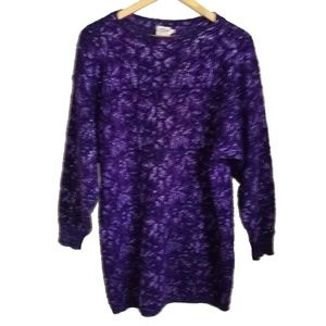 Vintage Purple & Silver Long Wool Sweater, size M